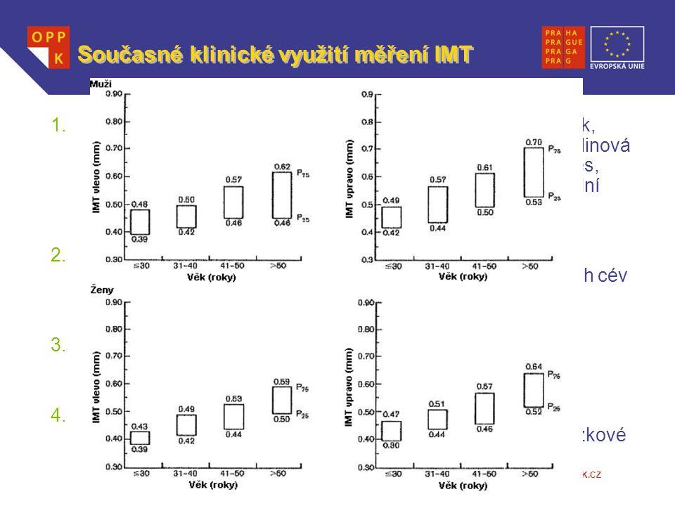 WWW.OPPK.CZ Současné klinické využití měření IMT 1.Odraz působení kardiovaskulárních rizikových faktorů: (Věk, hypertenze, kouření, dyslipidémie, diab
