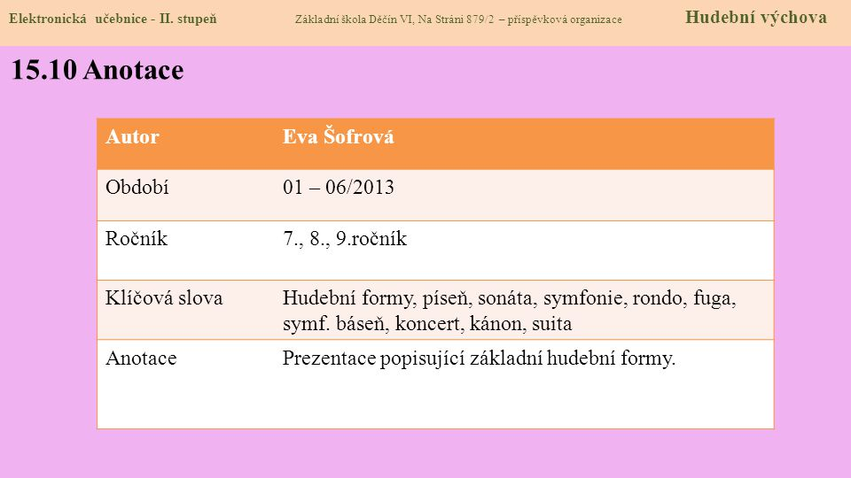 Elektronická učebnice - II. stupeň Základní škola Děčín VI, Na Stráni 879/2 – příspěvková organizace Hudební výchova 15.10 Anotace AutorEva Šofrová Ob