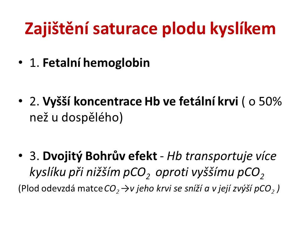Zajištění saturace plodu kyslíkem 1. Fetalní hemoglobin 2. Vyšší koncentrace Hb ve fetální krvi ( o 50% než u dospělého) 3. Dvojitý Bohrův efekt - Hb