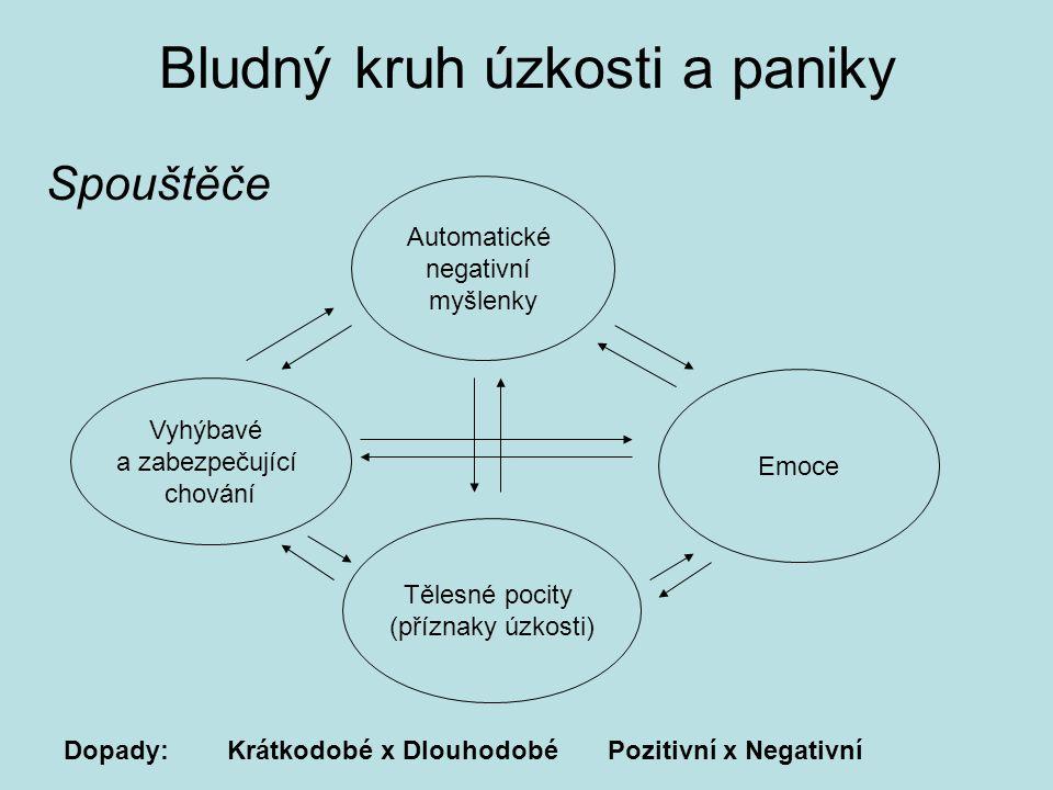 Bludný kruh úzkosti a paniky Automatické negativní myšlenky Emoce Vyhýbavé a zabezpečující chování Tělesné pocity (příznaky úzkosti) Dopady: Krátkodobé x Dlouhodobé Pozitivní x Negativní Spouštěče