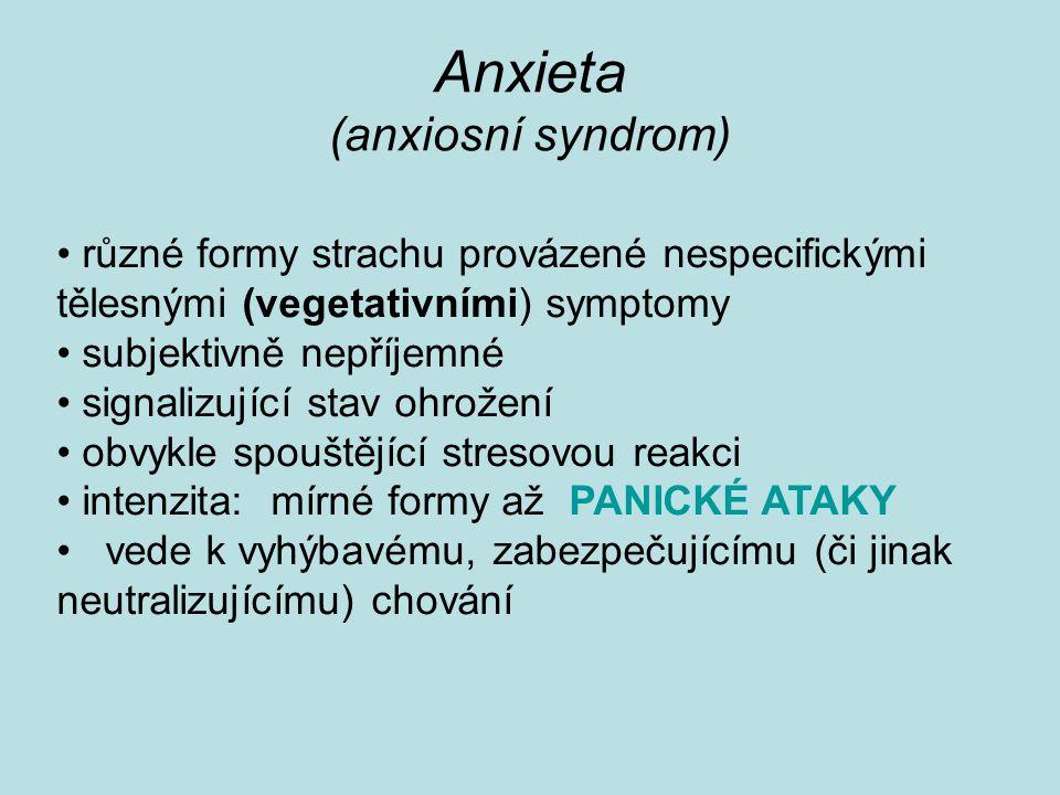 Etiologie panické poruchy (jako modelové úzkostné poruchy) Dysregulace autonomního NS (↑ tonus sympatiku) Psychologické teorie (strach z opuštění x strach z připoutanosti) Psychoanalytický pohled (ztráta rodiče, separační úzkost) Hyperventilační hypotéza (protrahovaná nevědomá hyperventilace) Kognitivní modely (strach z tělesných pocitů) Bludný kruh..