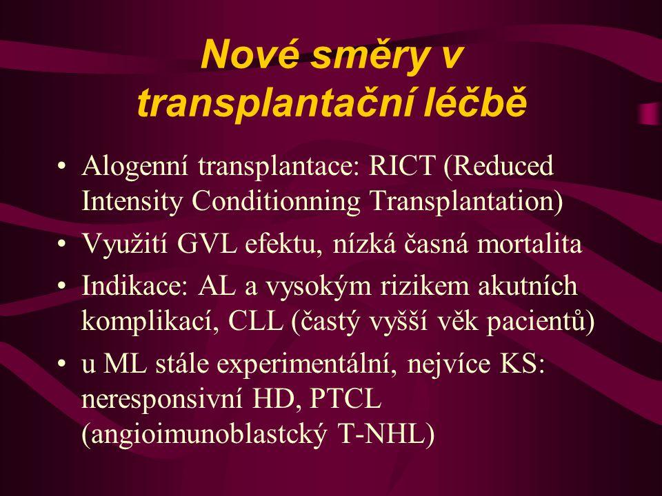 Nové směry v transplantační léčbě Alogenní transplantace: RICT (Reduced Intensity Conditionning Transplantation) Využití GVL efektu, nízká časná morta