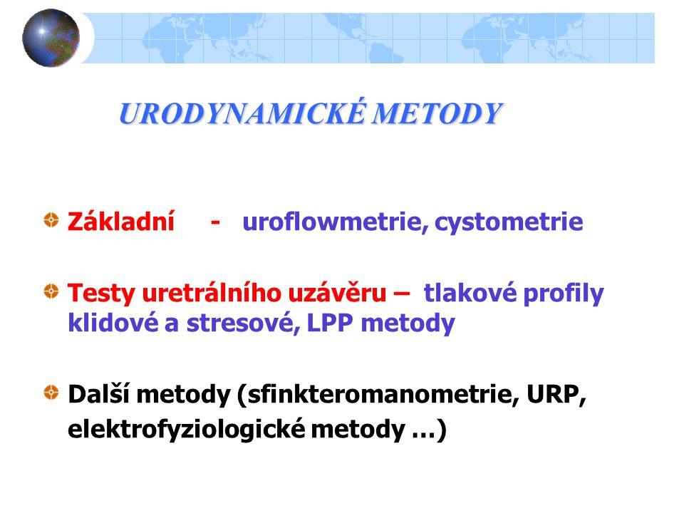 DIAGNOSTICKÉ METODY Anamnéza,klinické vyšetření, dotazníky QOL, mikční deníky Laboratoř Endoskopie (+kalibrace uretry) Morfologie (RTG, SONO, MRI) Funkční diagnostika (urodynamika)