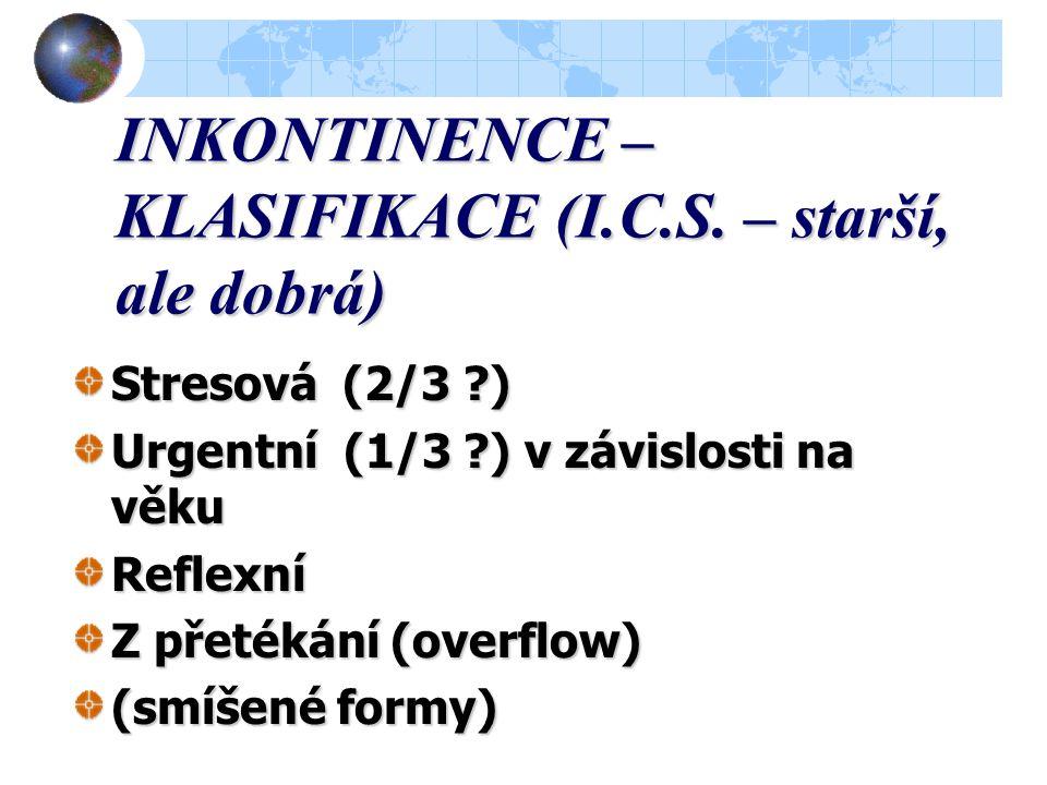 INKONTINENCE - PRINCIPY KONTINENCE  Anatomická fixace uretry a hrdla měchýře  Anatomická fixace uretry a hrdla měchýře  Integrita pánevního dna  K