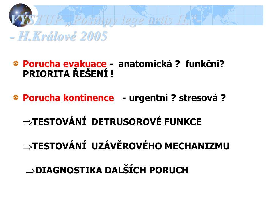 """VÝSTUP """"Postupy lege artis II. - - H.Králové 2005 Porucha evakuace - anatomická ."""