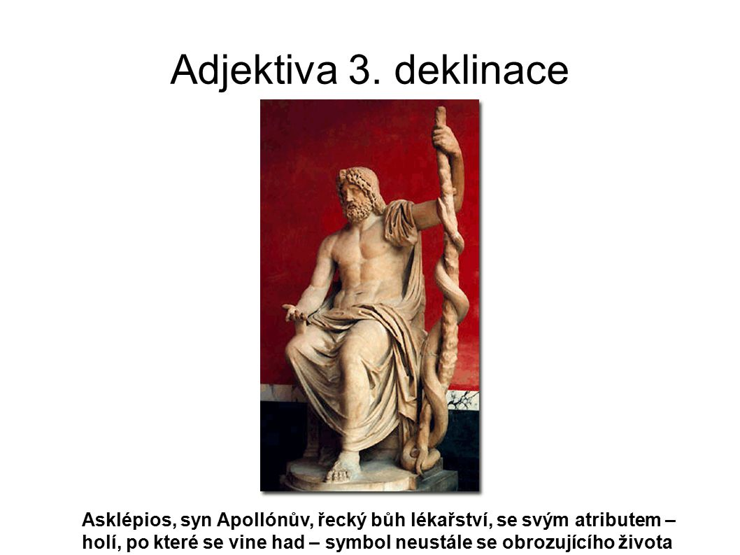 Adjektiva 3. deklinace Asklépios, syn Apollónův, řecký bůh lékařství, se svým atributem – holí, po které se vine had – symbol neustále se obrozujícího