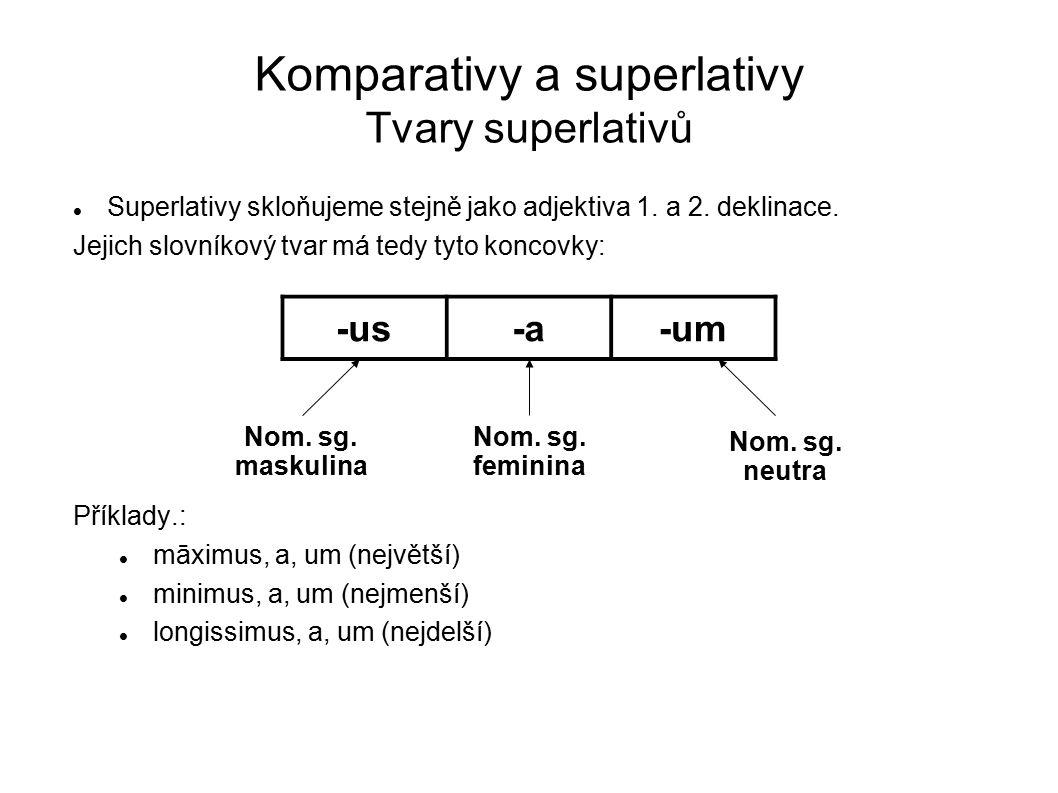 Komparativy a superlativy Tvary superlativů Superlativy skloňujeme stejně jako adjektiva 1. a 2. deklinace. Jejich slovníkový tvar má tedy tyto koncov
