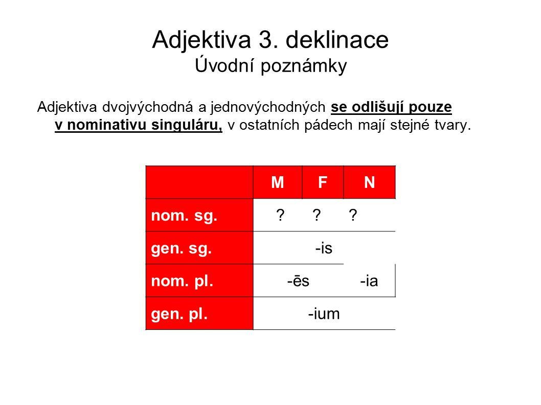 Adjektiva 3. deklinace Úvodní poznámky Adjektiva dvojvýchodná a jednovýchodných se odlišují pouze v nominativu singuláru, v ostatních pádech mají stej