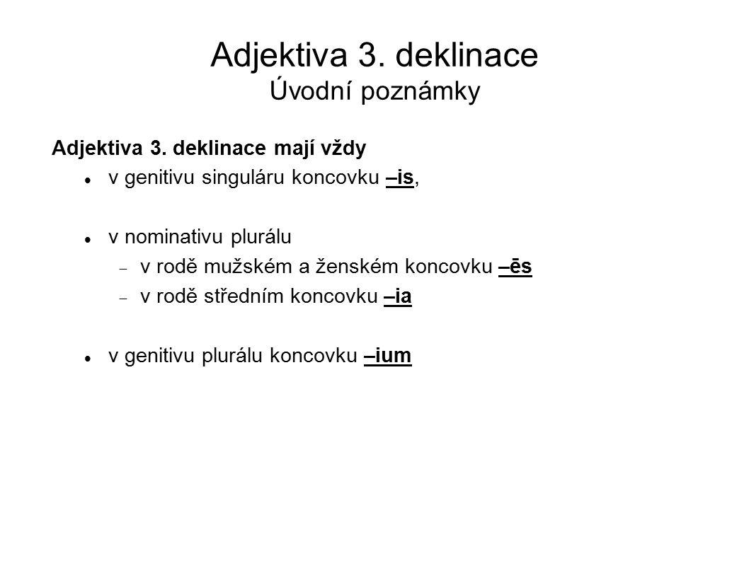 Adjektiva 3. deklinace Úvodní poznámky Adjektiva 3. deklinace mají vždy v genitivu singuláru koncovku –is, v nominativu plurálu  v rodě mužském a žen