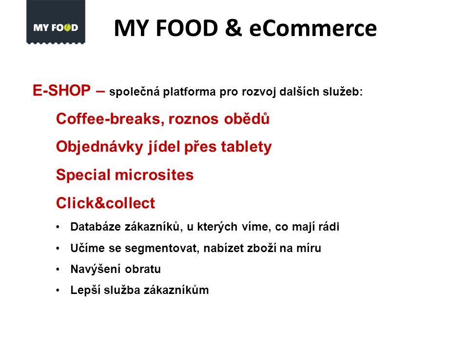 MY FOOD & eCommerce E-SHOP – společná platforma pro rozvoj dalších služeb: Coffee-breaks, roznos obědů Objednávky jídel přes tablety Special microsites Click&collect Databáze zákazníků, u kterých víme, co mají rádi Učíme se segmentovat, nabízet zboží na míru Navýšení obratu Lepší služba zákazníkům