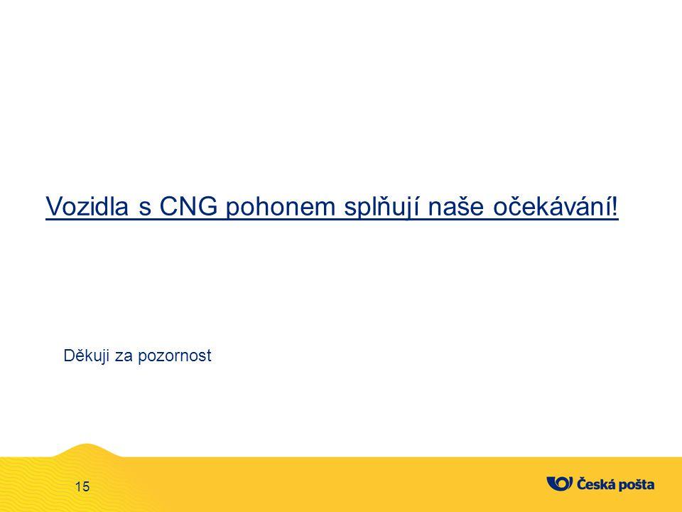 Děkuji za pozornost 15 Vozidla s CNG pohonem splňují naše očekávání!