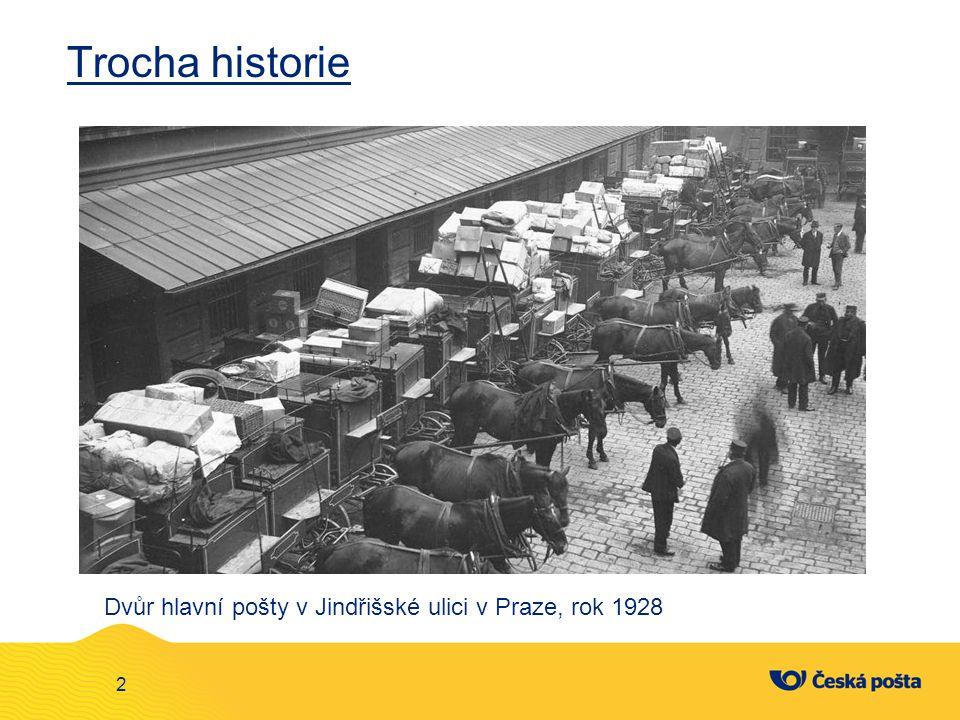 Trocha historie 2 Dvůr hlavní pošty v Jindřišské ulici v Praze, rok 1928