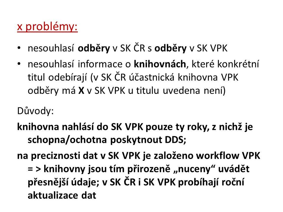 x problémy: nesouhlasí odběry v SK ČR s odběry v SK VPK nesouhlasí informace o knihovnách, které konkrétní titul odebírají (v SK ČR účastnická knihovn
