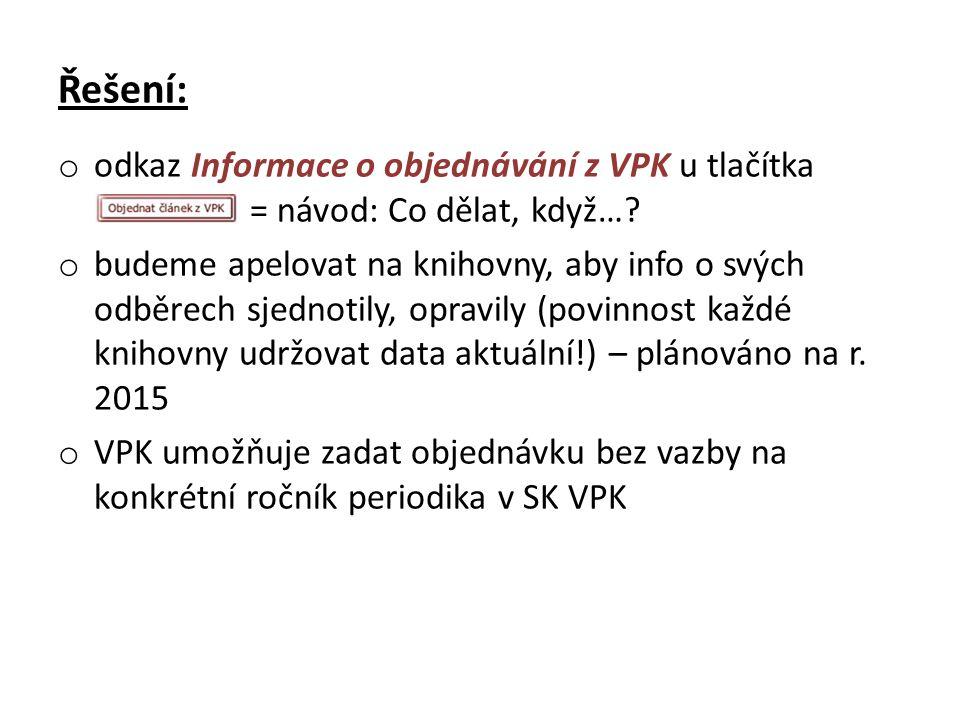 Řešení: o odkaz Informace o objednávání z VPK u tlačítka = návod: Co dělat, když…? o budeme apelovat na knihovny, aby info o svých odběrech sjednotily