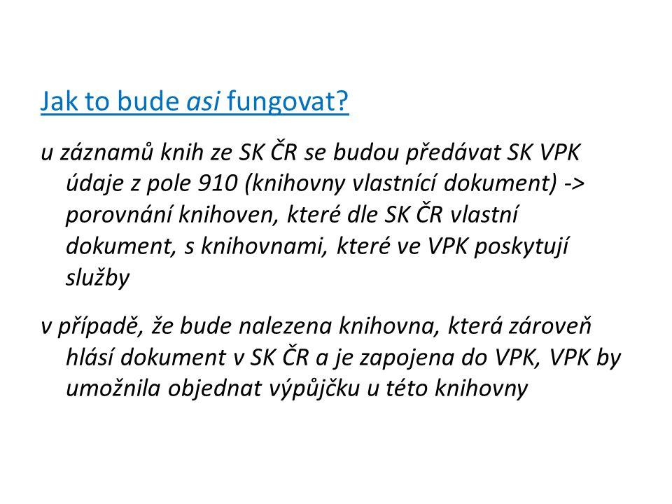 Jak to bude asi fungovat? u záznamů knih ze SK ČR se budou předávat SK VPK údaje z pole 910 (knihovny vlastnící dokument) -> porovnání knihoven, které