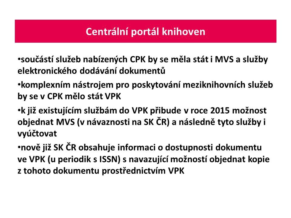 součástí služeb nabízených CPK by se měla stát i MVS a služby elektronického dodávání dokumentů komplexním nástrojem pro poskytování meziknihovních sl
