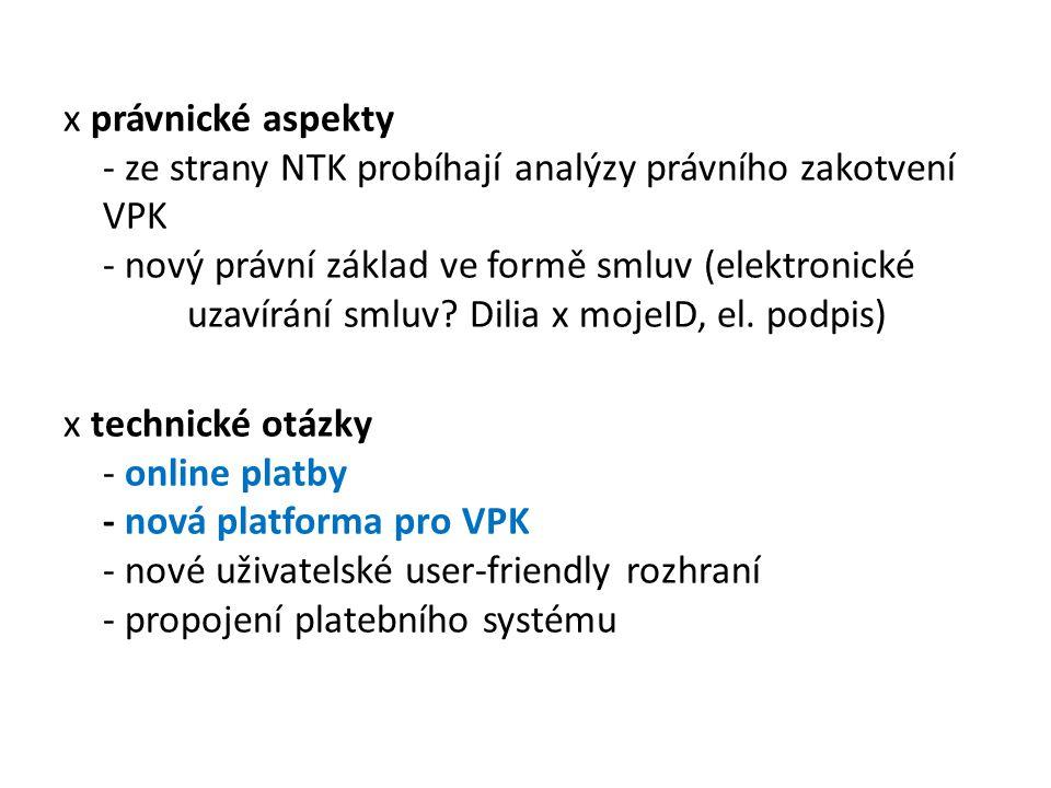 x právnické aspekty - ze strany NTK probíhají analýzy právního zakotvení VPK - nový právní základ ve formě smluv (elektronické uzavírání smluv? Dilia