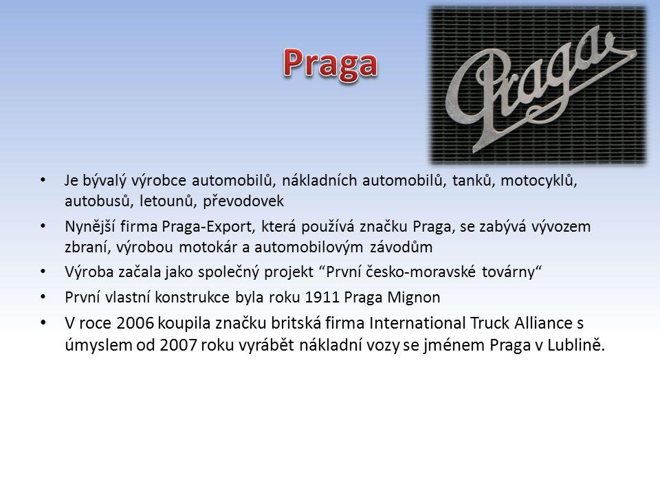Je bývalý výrobce automobilů, nákladních automobilů, tanků, motocyklů, autobusů, letounů, převodovek Nynější firma Praga-Export, která používá značku Praga, se zabývá vývozem zbraní, výrobou motokár a automobilovým závodům Výroba začala jako společný projekt První česko-moravské továrny První vlastní konstrukce byla roku 1911 Praga Mignon V roce 2006 koupila značku britská firma International Truck Alliance s úmyslem od 2007 roku vyrábět nákladní vozy se jménem Praga v Lublině.