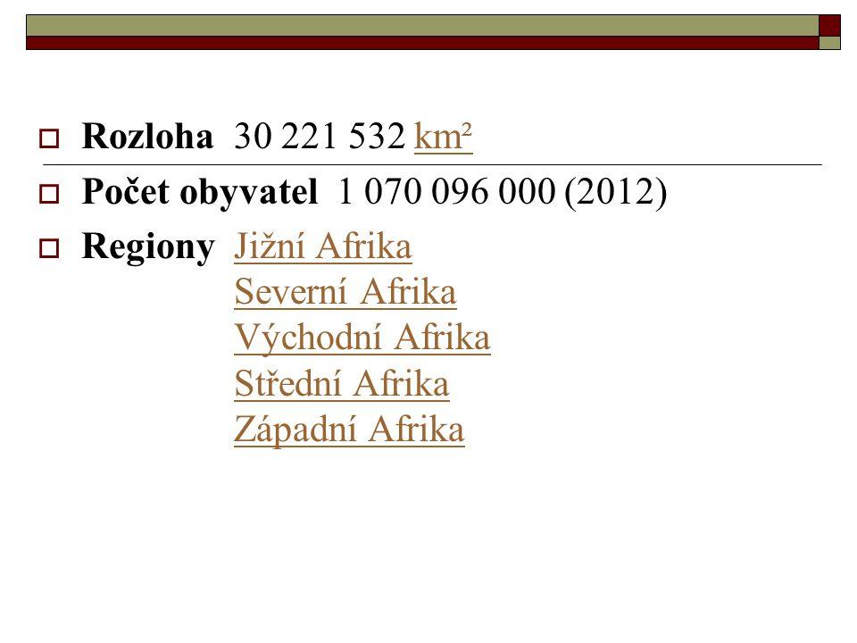  Rozloha 30 221 532 km²km²  Počet obyvatel 1 070 096 000 (2012)  Regiony Jižní Afrika Severní Afrika Východní Afrika Střední Afrika Západní AfrikaJižní AfrikaSeverní AfrikaVýchodní AfrikaStřední AfrikaZápadní Afrika