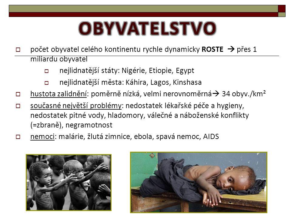  počet obyvatel celého kontinentu rychle dynamicky ROSTE  přes 1 miliardu obyvatel  nejlidnatější státy: Nigérie, Etiopie, Egypt  nejlidnatější mě