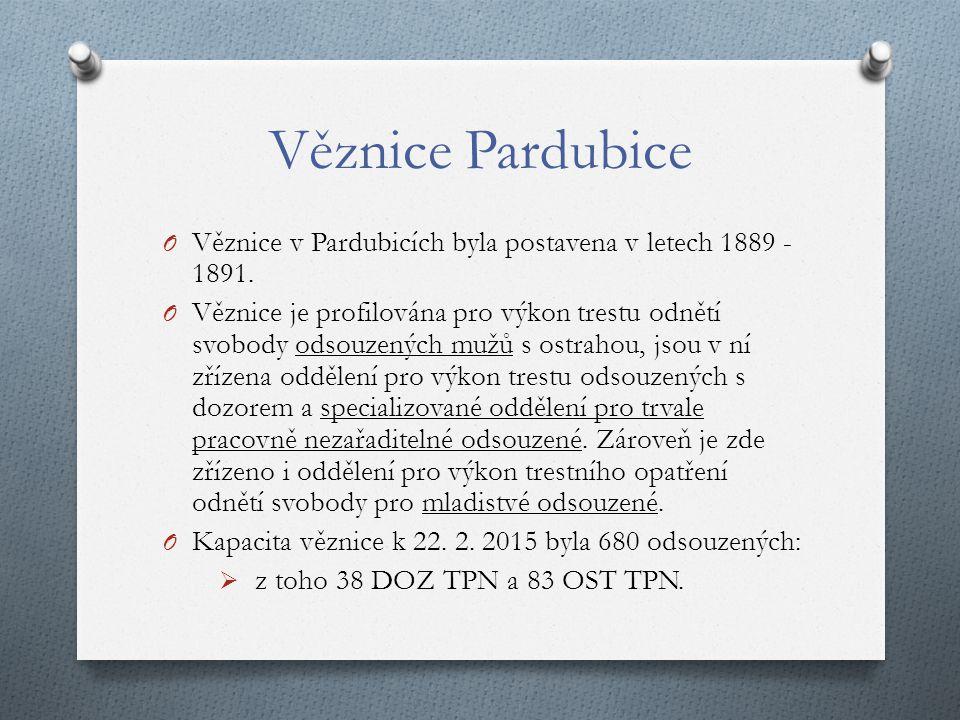 Věznice Pardubice O Věznice v Pardubicích byla postavena v letech 1889 - 1891.