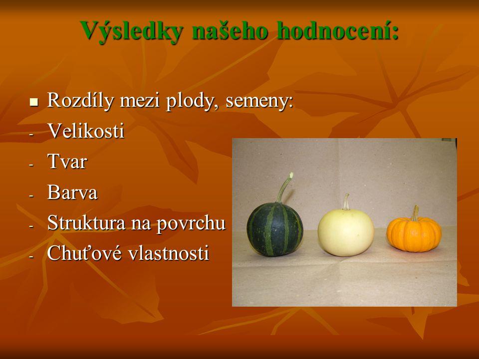 Výsledky našeho hodnocení: Rozdíly mezi plody, semeny: Rozdíly mezi plody, semeny: - Velikosti - Tvar - Barva - Struktura na povrchu - Chuťové vlastno