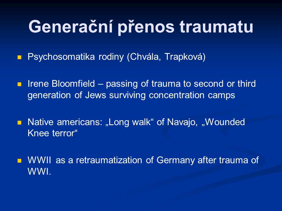 Generační přenos traumatu Psychosomatika rodiny (Chvála, Trapková) Irene Bloomfield – passing of trauma to second or third generation of Jews survivin