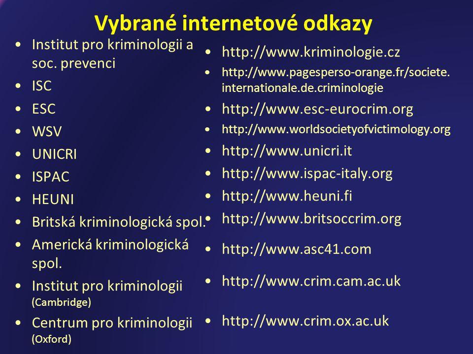 Vybrané internetové odkazy Institut pro kriminologii a soc.