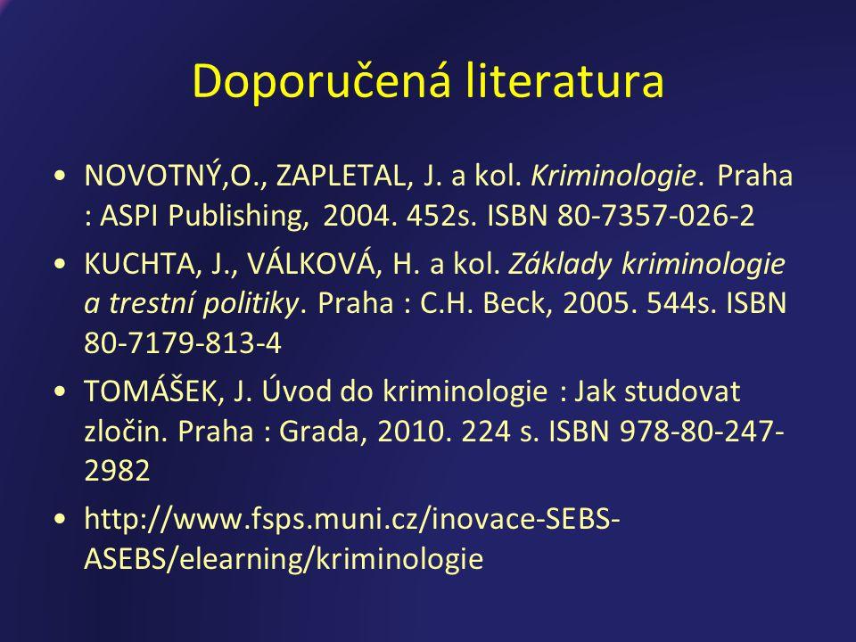 Doporučená literatura NOVOTNÝ,O., ZAPLETAL, J.a kol.