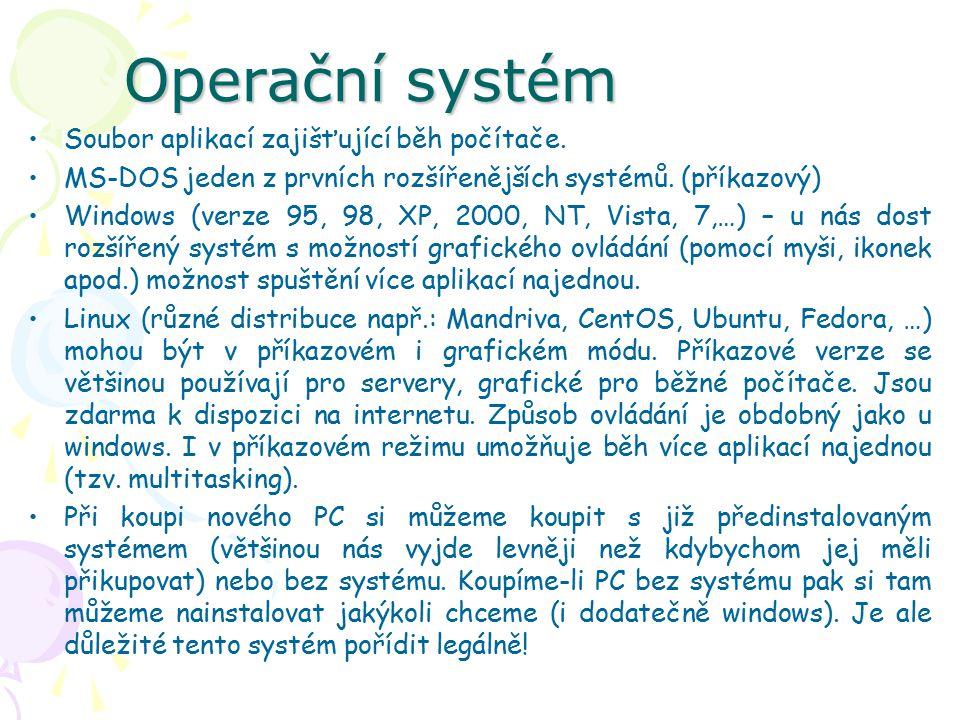 Operační systém Soubor aplikací zajišťující běh počítače.