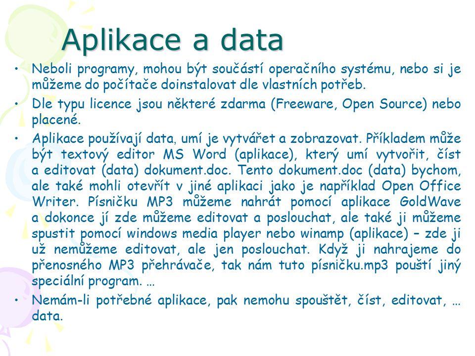 Aplikace a data Neboli programy, mohou být součástí operačního systému, nebo si je můžeme do počítače doinstalovat dle vlastních potřeb.