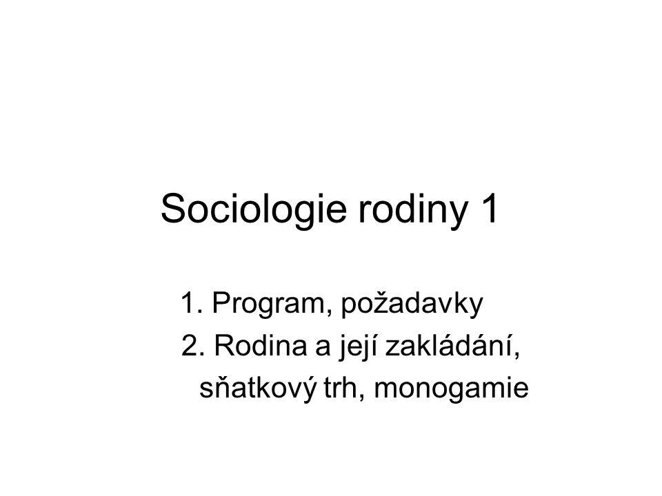 Sociologie rodiny 1 1. Program, požadavky 2. Rodina a její zakládání, sňatkový trh, monogamie