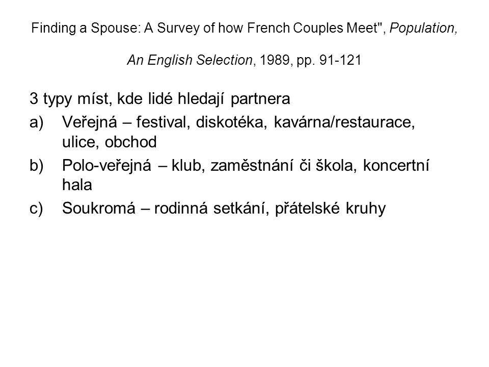 Finding a Spouse: A Survey of how French Couples Meet