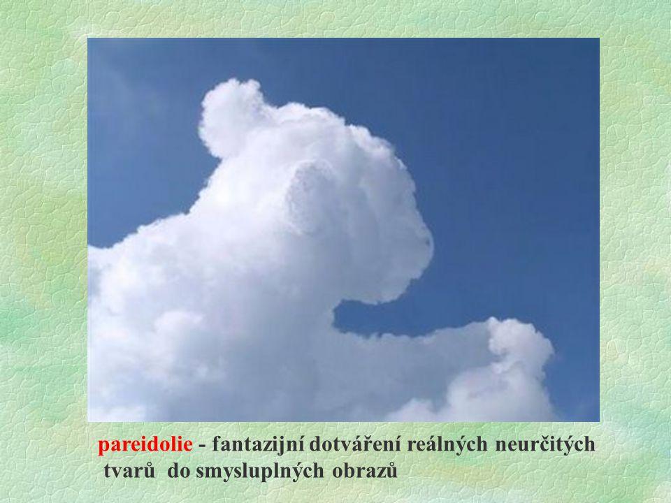 pareidolie - fantazijní dotváření reálných neurčitých tvarů do smysluplných obrazů