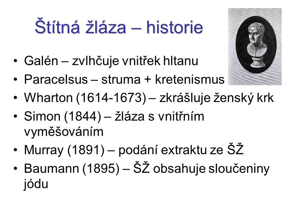 Štítná žláza – historie Galén – zvlhčuje vnitřek hltanu Paracelsus – struma + kretenismus Wharton (1614-1673) – zkrášluje ženský krk Simon (1844) – žláza s vnitřním vyměšováním Murray (1891) – podání extraktu ze ŠŽ Baumann (1895) – ŠŽ obsahuje sloučeniny jódu