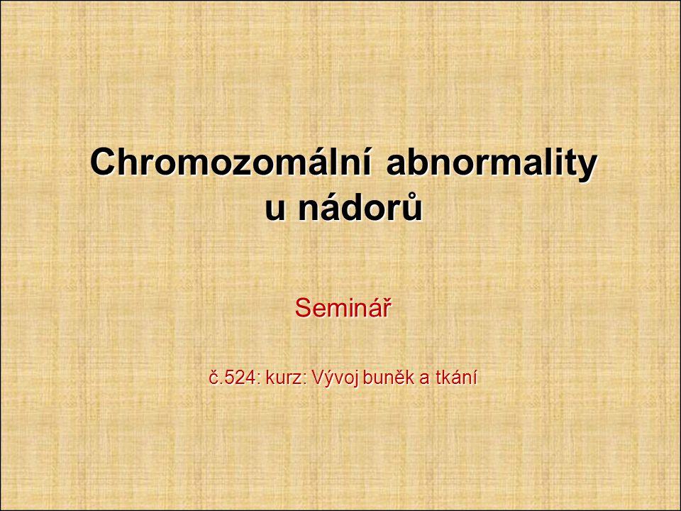 Chromozomální abnormality u nádorů Seminář č.524: kurz: Vývoj buněk a tkání