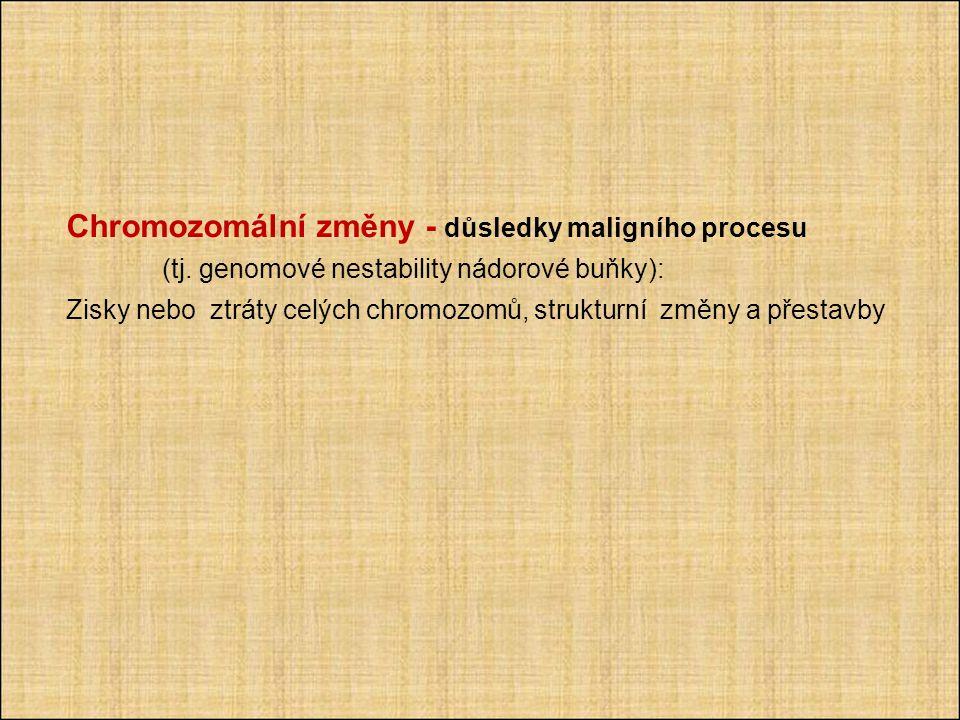 Chromozomální změny - důsledky maligního procesu (tj.