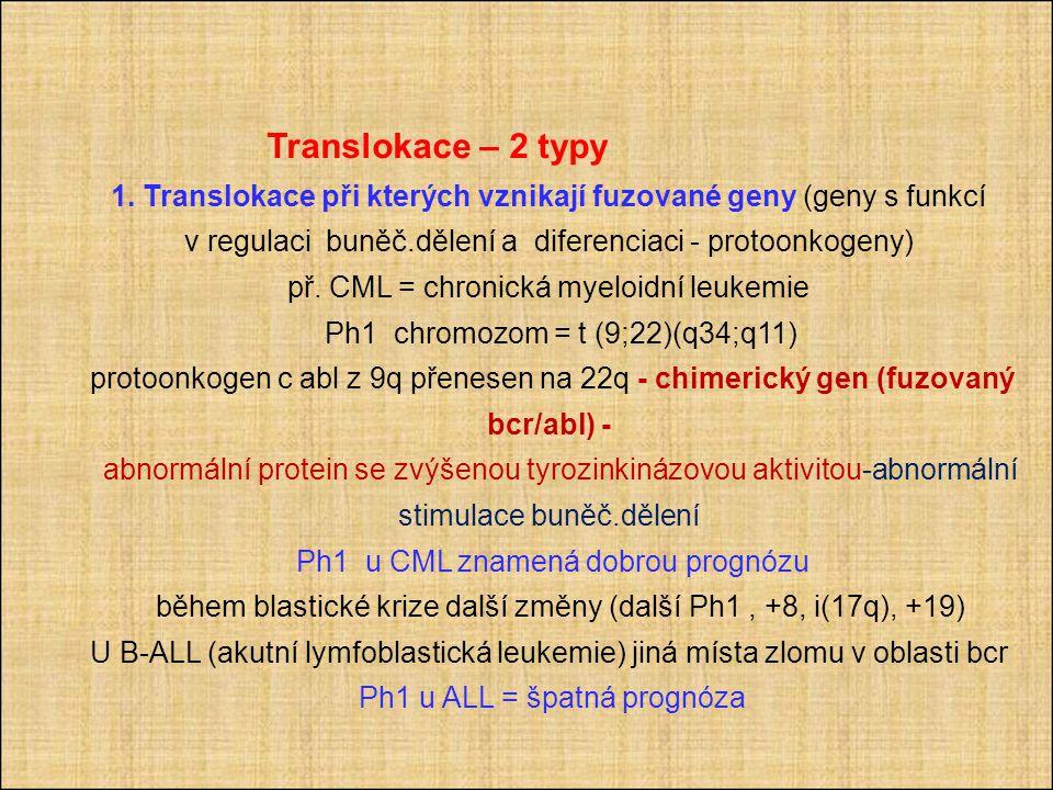 Translokace – 2 typy 1.