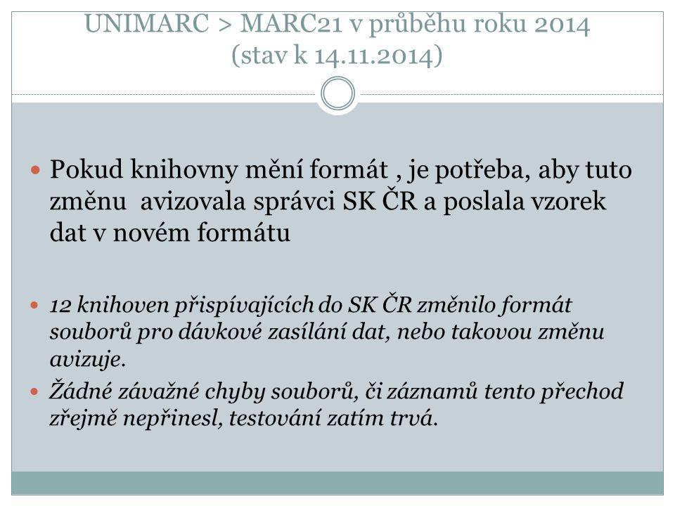UNIMARC > MARC21 v průběhu roku 2014 (stav k 14.11.2014) Pokud knihovny mění formát, je potřeba, aby tuto změnu avizovala správci SK ČR a poslala vzorek dat v novém formátu 12 knihoven přispívajících do SK ČR změnilo formát souborů pro dávkové zasílání dat, nebo takovou změnu avizuje.