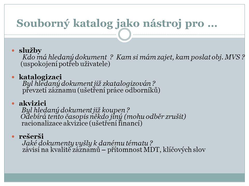"""Souborný katalog ČR reálný centralizovaný heterogenní souborný katalog na Internetu dostupný od roku 1995  na adrese http://skc.nkp.cz (vyhledávání v SK ČR)http://skc.nkp.cz  na adrese http://www.caslin.cz (informace o SK ČR)http://www.caslin.cz  v Národní knihovně ČR http://www.nkp.cz – Katalogy a databázehttp://www.nkp.cz Jeden z mnoha v ČR, ale který jiný má :jiný 5.8 milionů záznamů (monografií, seriálů, """"speciálů ) z 384 knihoven (seriály z cca 700 knihoven) z 384 knihoven"""