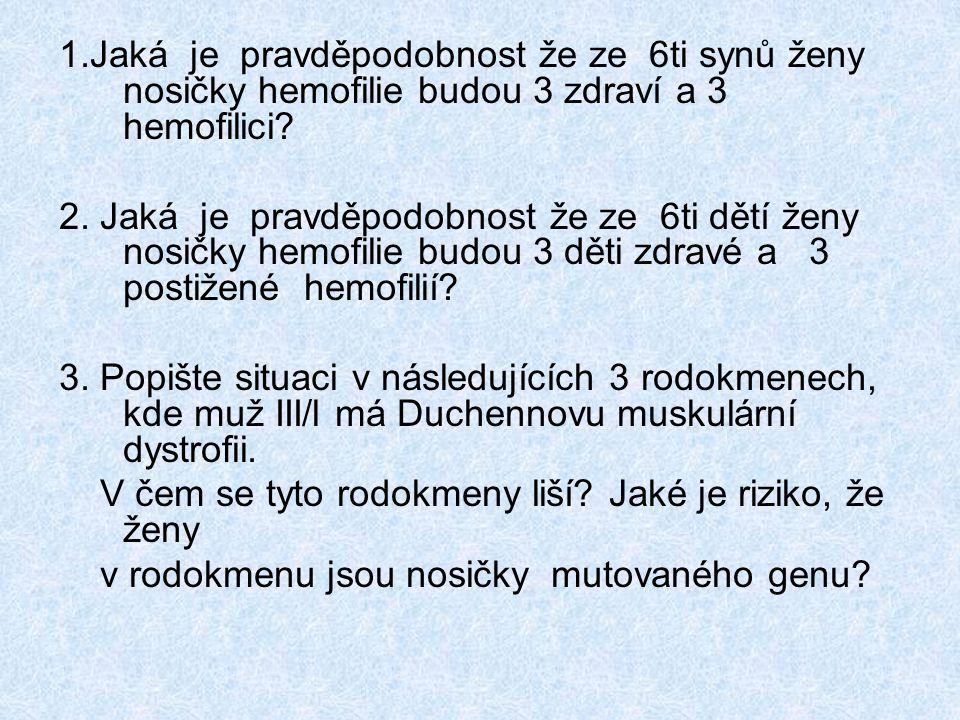 1.Jaká je pravděpodobnost že ze 6ti synů ženy nosičky hemofilie budou 3 zdraví a 3 hemofilici.