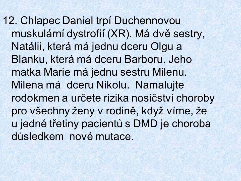 12. Chlapec Daniel trpí Duchennovou muskulární dystrofií (XR).