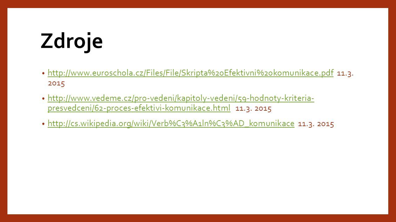 Zdroje http://www.euroschola.cz/Files/File/Skripta%20Efektivni%20komunikace.pdf 11.3.