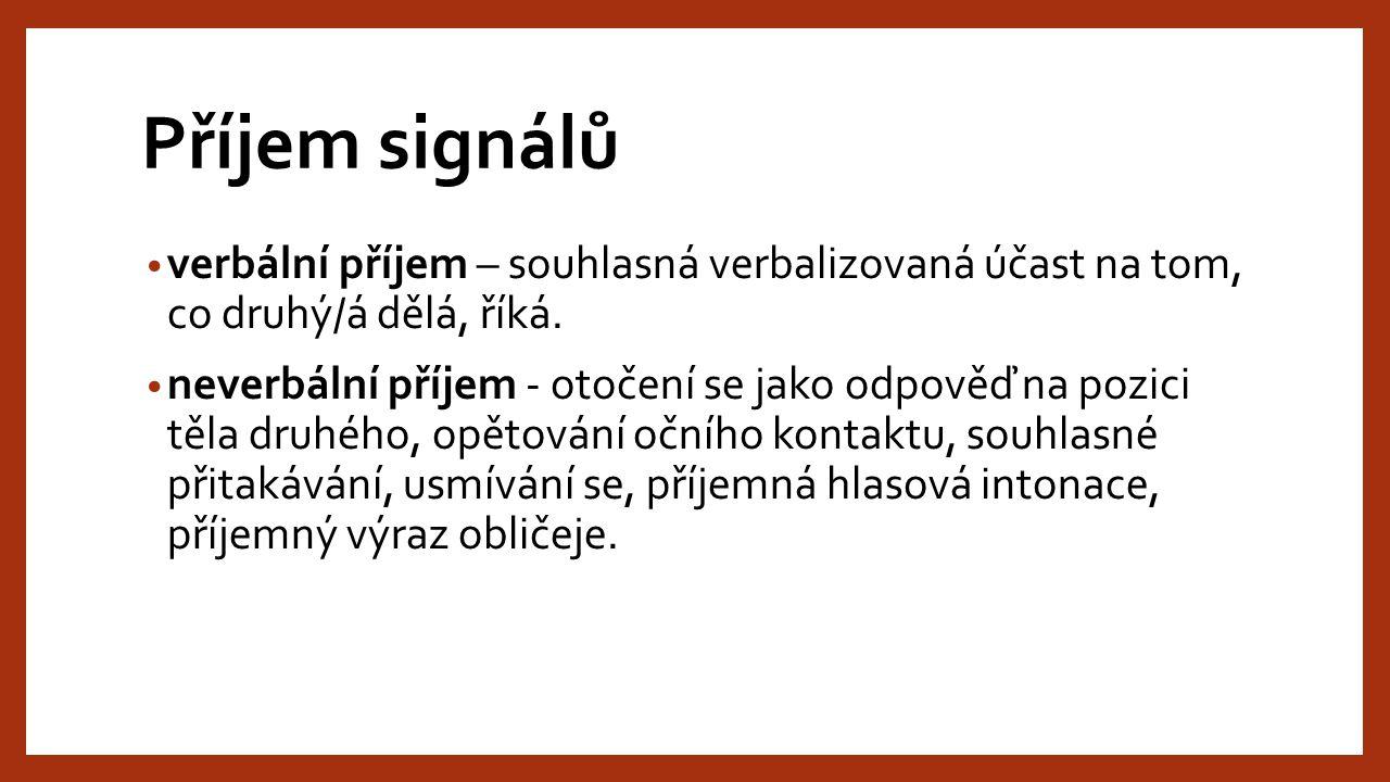 Vysílání signálů neverbální charakter verbální charakter čin