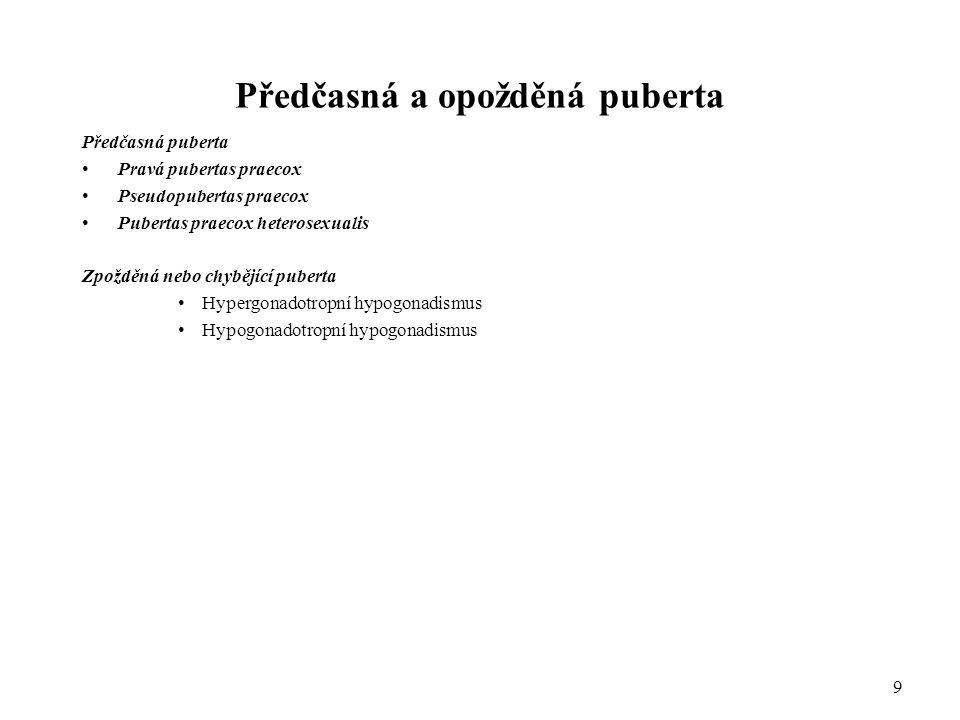 Předčasná a opožděná puberta Předčasná puberta Pravá pubertas praecox Pseudopubertas praecox Pubertas praecox heterosexualis Zpožděná nebo chybějící p