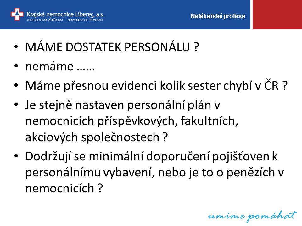 Nelékařské profese MÁME DOSTATEK PERSONÁLU .