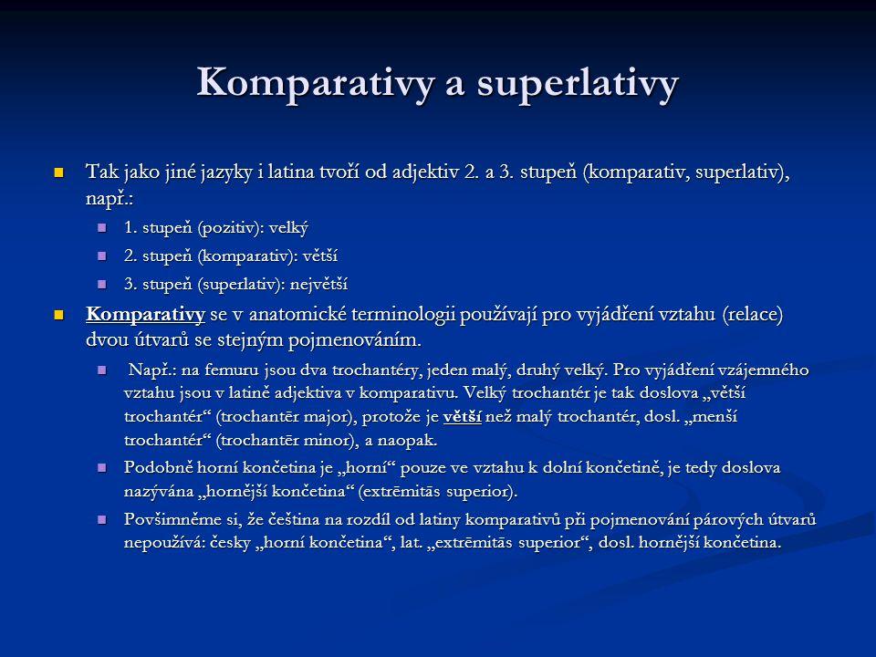Komparativy a superlativy Tak jako jiné jazyky i latina tvoří od adjektiv 2.