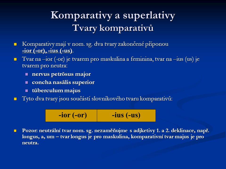 Komparativy a superlativy Tvary komparativů Komparativy mají v nom.