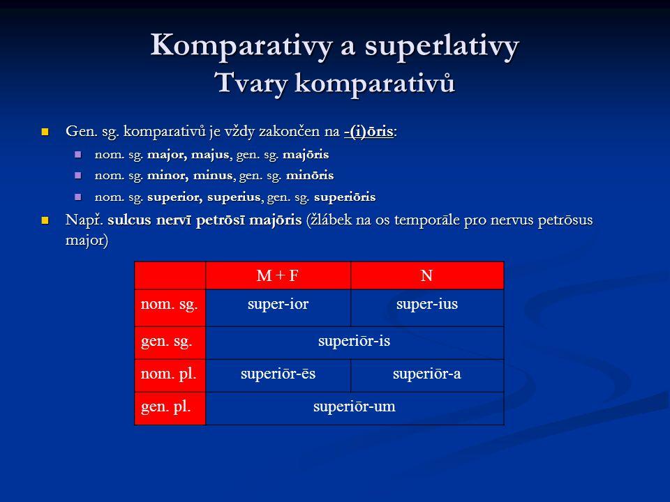 Komparativy a superlativy Tvary komparativů Gen.sg.