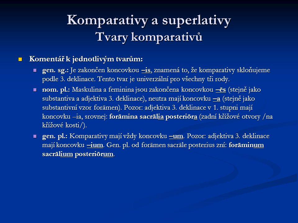 Komparativy a superlativy Tvary komparativů Komentář k jednotlivým tvarům: Komentář k jednotlivým tvarům: gen.